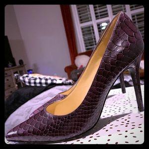 Dark purple snake skin Michael Kors heels